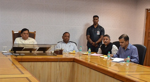 Assam CM Sarbananda Sonowal at a review meeting of Fishery department on March 5, 2018. Photo: DIPR