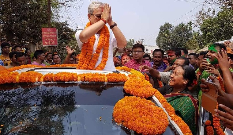 Tripura Deputy CM Jishnu Dev Barman during a victory rally after winning Charilam seat.