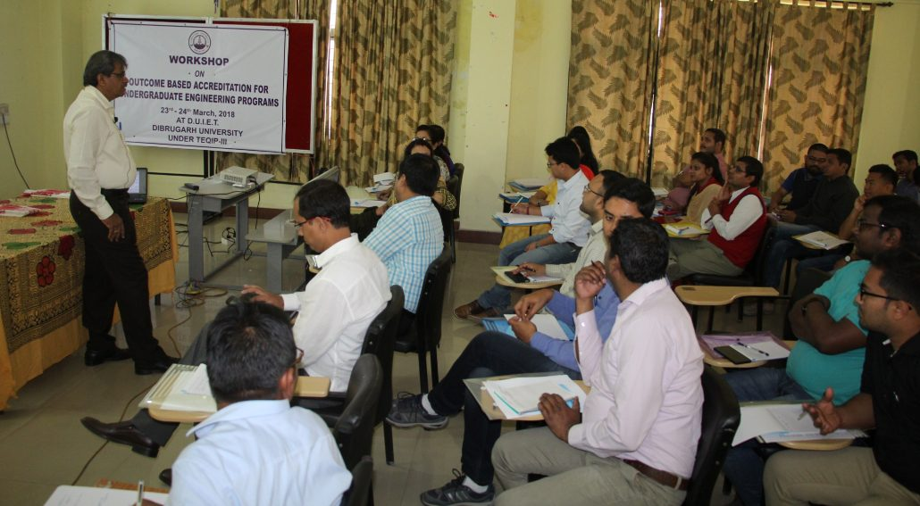 A view of the workshop on 'Outcome Based Accreditation for Undergraduate Engineering Programs', held at Dibrugarh University Institute of Engineering and Technology (DUIET), Dibrugarh University.