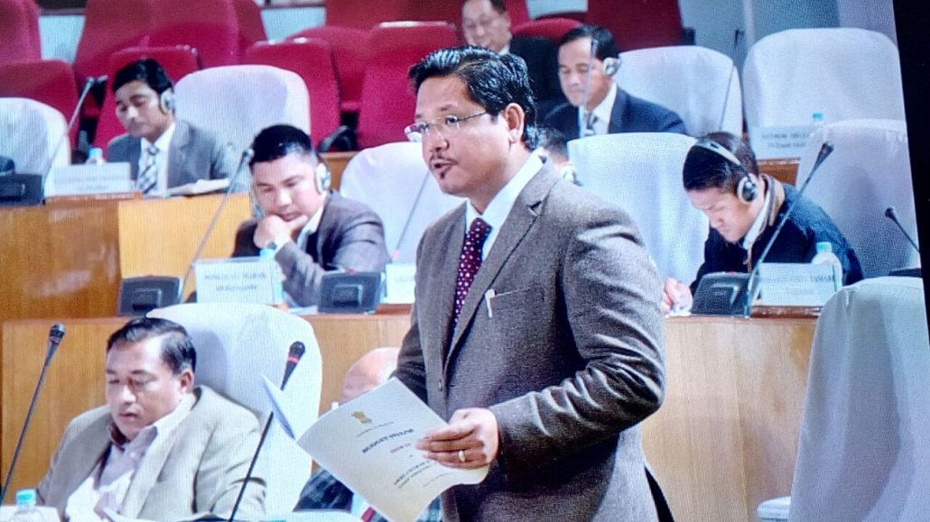 Meghalaya Chief Minister Conrad Sangma presents the budget at the  Assembly session. (File  image)