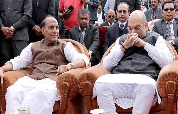 File photo: Home Minister, Rajnath SIngh and BJP President Amit Shah arrives at Raj Bhawan to take part in the swearing ceremony of the new Government, Conrad Sangma being sworn in as the new Chief MInister of Meghalaya at Raj Bhavan in Shillong on March 6, 2018.
