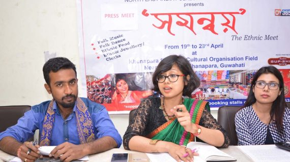 Saswati Bordoloi. President, NEIFACV addressing a press meet at Guwahati Press Club on Sunday.