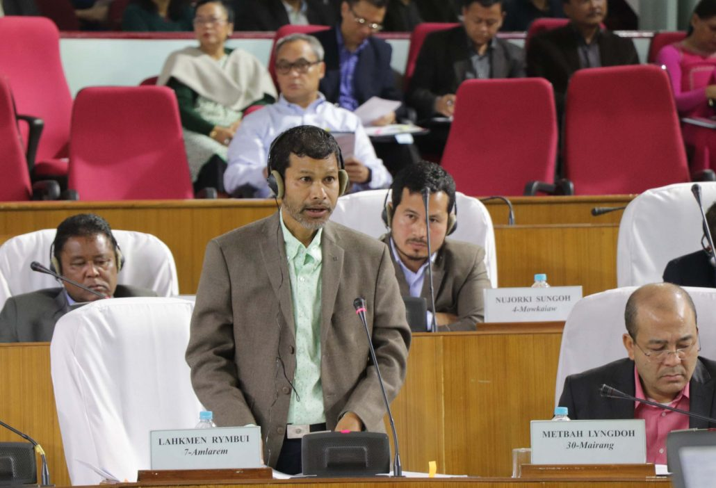 Meghalaya Education Minister Lahkmen Rymbui replying at Meghalaya Legislative Assembly in Shillong on Tuesday. UB Photos