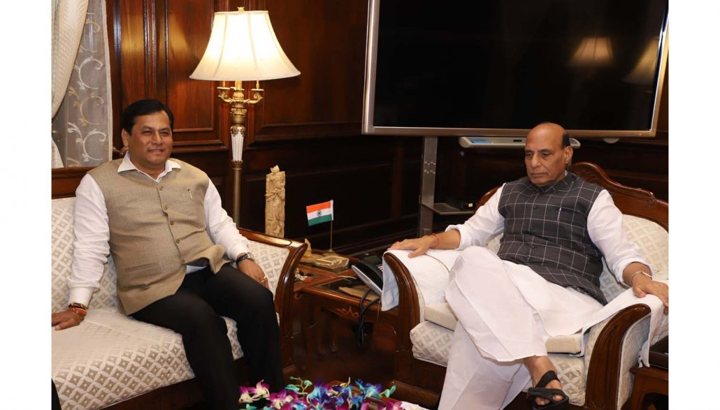 Chief Minister Sarbanadna Sonowal calling on Union Home Minister Rajnath Singh at the latter's office in New Delhi on Thursday.
