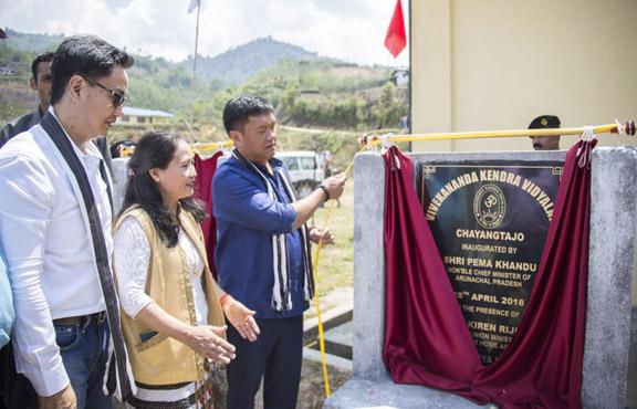 Arunachal Chief Minister Pema Khandu inaugurating a Vivekananda Kendra Vidyalaya (VKV) at Chayang Tajo in East Kameng district on Saturday. Source - Twitter
