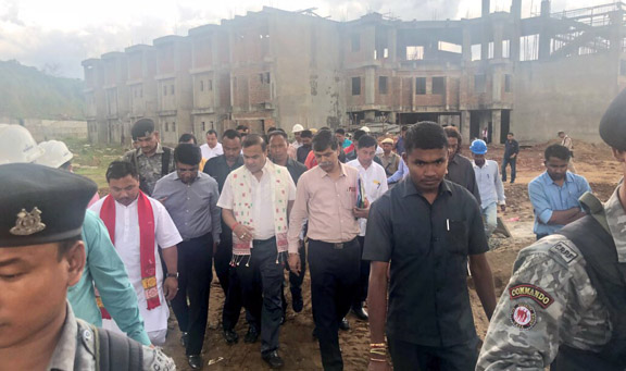 Himanta Biswa Sarma during his visit to the construction site of Diphu Medical College. Twitter