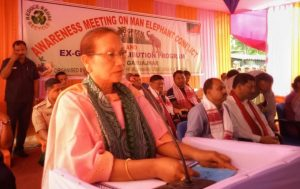 Assam Forest and Environment Minister Pramila Rani Brahma speaking at Garuajhar in Udalguri on Tuesday.