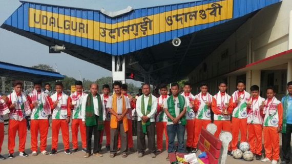 U-17 boys' team from Assam representing India posing for a photograph after being accorded a rousing welcome at the Udalguri Railway Station after their arrival on Saturday.