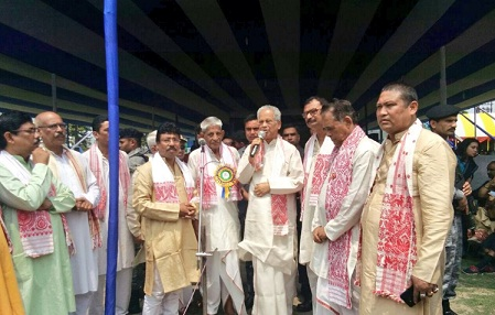Former Assam Chief Minister Tarun Gogoi attending Rongali Bihu celebration at Latasil ground on April 14, 2018.