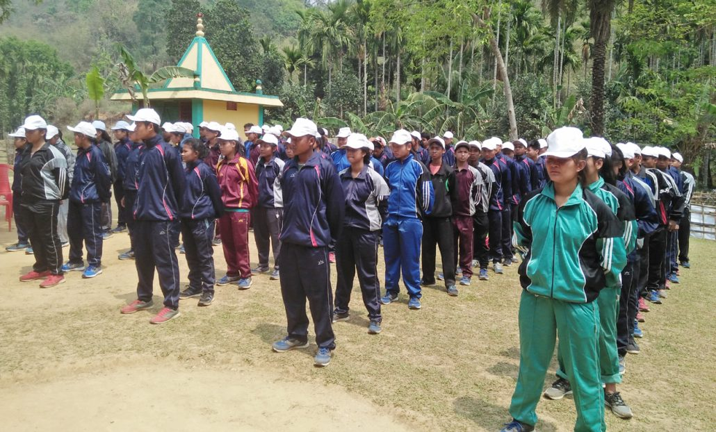 The trainees seen at the closing ceremony of the mountaineering camp in Kokrajhar.