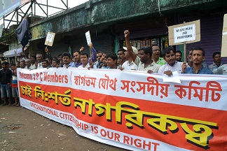 File photo: Supporters of Citizenship (Amendment) Bill 2016 outside NIT-Silchar on May 8, 2018. UB Photos