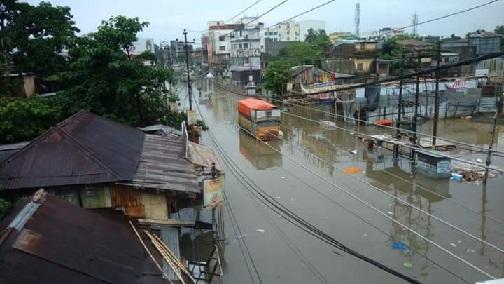A flooded region in Agartala