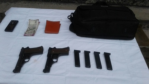 The arms and magazines recovered. Northeast Now