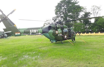 Army chopper after making emergency landing at Bihpuria College playground due to technical snag.  Northeast Now