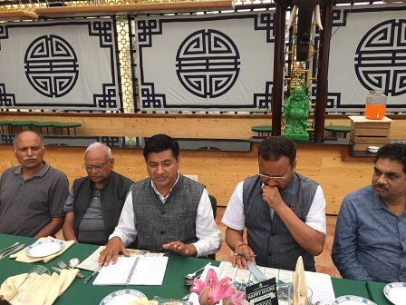 Sikkim BJP office-bearers addressing media on the occasion of four years completion of Modi government. Photo: Sagar Chhetri