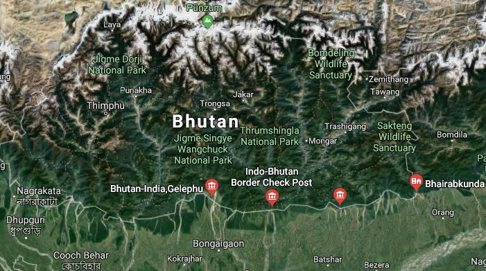 Image of satellite map of Assam-Bhutan border.