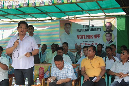 File photo: Meghalaya CM Conrad K Sangma campaigning for party candidate in Ampati constituency. Photo: Northeast Now