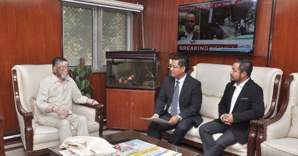 Meghalaya Chief Minister Conrad K Sangma calling on Union Minister for Labour and Employment Santosh Kumar Gangwar in New Delhi. CMO, Meghalaya