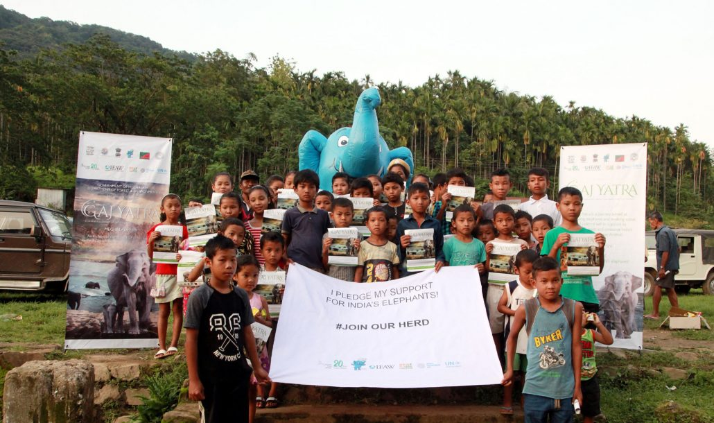 Children along with the villagers of Siju village of South Garo Hills support