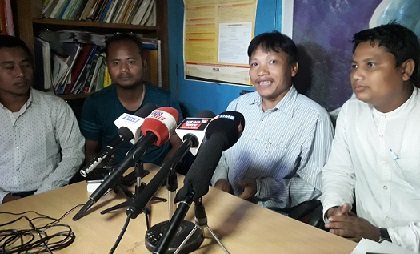 AADSU leaders addressing the media at Haflong on May 13, 2018. Northeast Now
