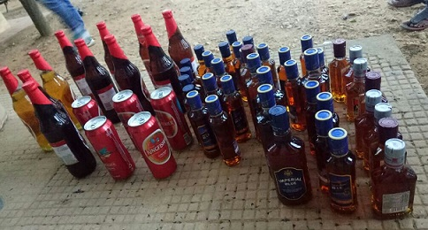 Illicit liquors seized by Hojai Police. Northeast Now