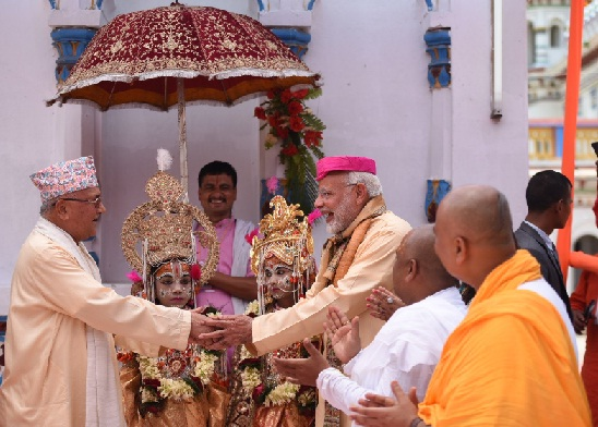 Indian Prime Minister Narendra Modi and Nepal Prime Minister KP Sharma Oli at the Janaki temple at Janakpur in Nepal on May 11, 2018. A twitter photo by MEA