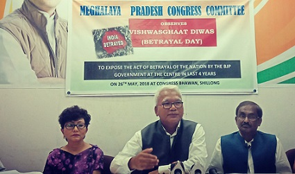 Meghalaya Congress president Dr Celestine Lyngdoh addressing media persons at Congress Bhawan in Shillong. File photo: Northeast Now