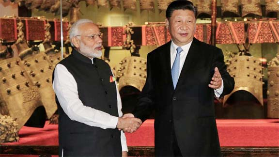 Chinese President Xi Jinping and Indian Prime Minister Narendra Modi during Wuhan summit. Photo source - Internet