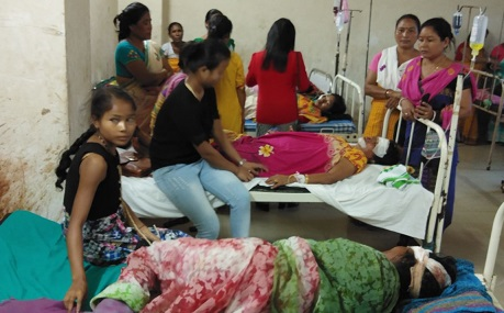 Some of the injured undergoing treatment in Kokrajhar RB Civil hospital. Northeast Now