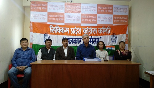 SPCC office-bearers addressing media in Gangtok against government's anti-people policies on May 26, 2018. Photo: Sagar Chhetri