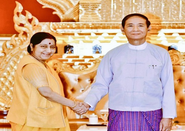Indian External Affairs Minister Sushma Swaraj calls on Myanmar President U Win Myint in her first engagement in Myanmar on May 10, 2018.  A twitter photo