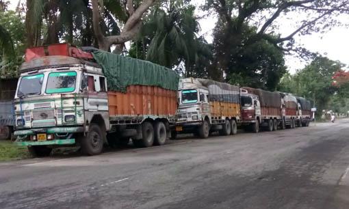 The seized betel nut-laden trucks. Northeast Now