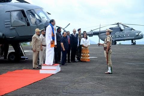 Vice President of India M Venkaiah Naidu taking guard of honour at Aizawl on May 24, 2018. Photo: Sangzuala Hmar