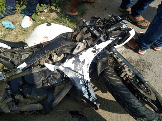 Mangled contraptions of motorcycle at Powai. Photo: Laxman Sharma