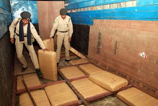 Tripura police seized huge quantity of ganjas in the outskirt of Agartala on May 19, 2018. Photo: Pinaki Das