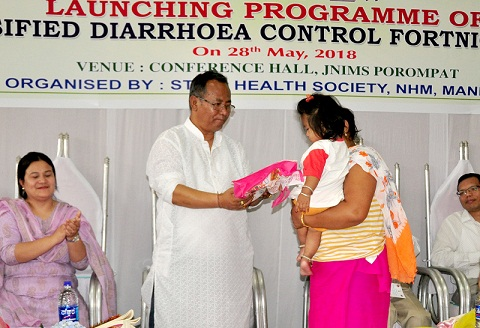 Manipur Health & Family Welfare Minister L Jayantakumar Singh during the launch of Intensified Diarrhoea Control Fortnight in Imphal on May 28, 2018. Photo: Sobhapati Samom