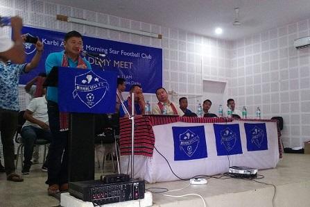 KAAC CEM Tuliram Ronghang addressing an Academy Meet of Karbi Anglong Morning Star Football Club (KAMSFC) at Diphu on Saturday. Northeast Now