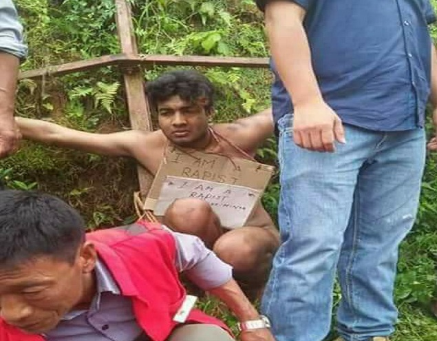 Police in Mon town of Nagaland rescue on rape accused from lynching by irate mob on May 30, 2018. Photo source: Whatsapp