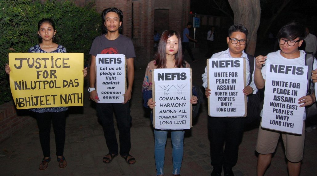 Assam Students Association Delhi (ASAD) activists staging a protest against Karbi Anglong lynching in New Delhi on Monday.  Image credit: UB Photos