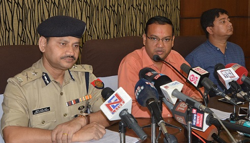 Deputy Commissioner, Kamrup (M) Virendra Mittal and Commisoner of Police, Guwahati, Hiren Ch Nath addressing media persons.  UB PHOTOS
