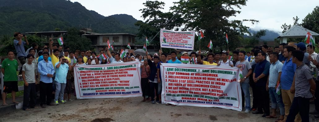 Locals staging a protest at Dollungmukh in Arunachal Pradesh's Kamle district demanding shifting of IAF firing range.