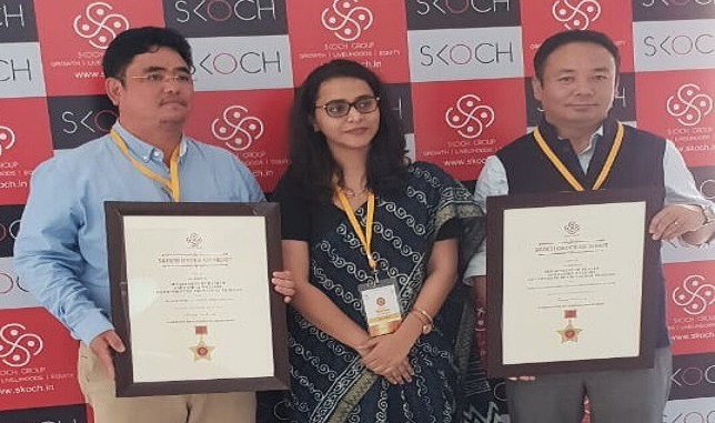 Arunachal Pradesh officials receiving 'SKOCH-Order-of Merit' Award at the 52nd SKOCH summit held at Constitution Club of India in New Delhi on June 21, 2018. Photo: Damien Lepcha