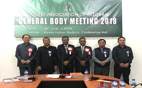 The office bearers of Cricket Association of Mizoram. Photo: Sangzuala Hmar