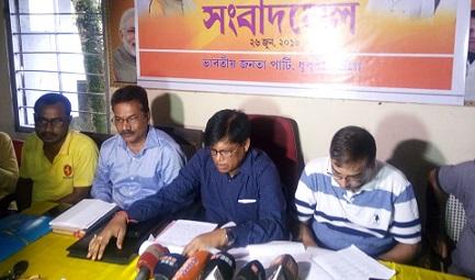 Golakganj legislator Ashawani Ray Sarkar addressing media persons at Dhubri. Northeast Now