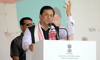 File photo of Assam CM Sarbananda Sonowal speaking at a programme. UB photos