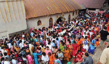 Devotees gathering as the temple doors open after the Ambubachi Mela at Kamakhya Temple in Guwahati on June 26, 2018. UB Photos