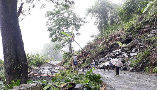 A view of landslide in West Kameng district of Arunachal Pradesh. Photo: Pranab Kumar Das