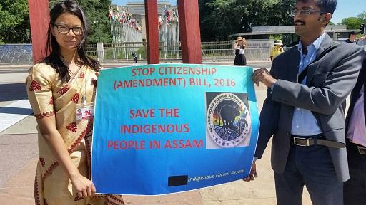Indigenous Forum, Assam protesting against Citizenship Bill in Geneva near Broken Chair on June 22, 2018. Photo: Northeast Now