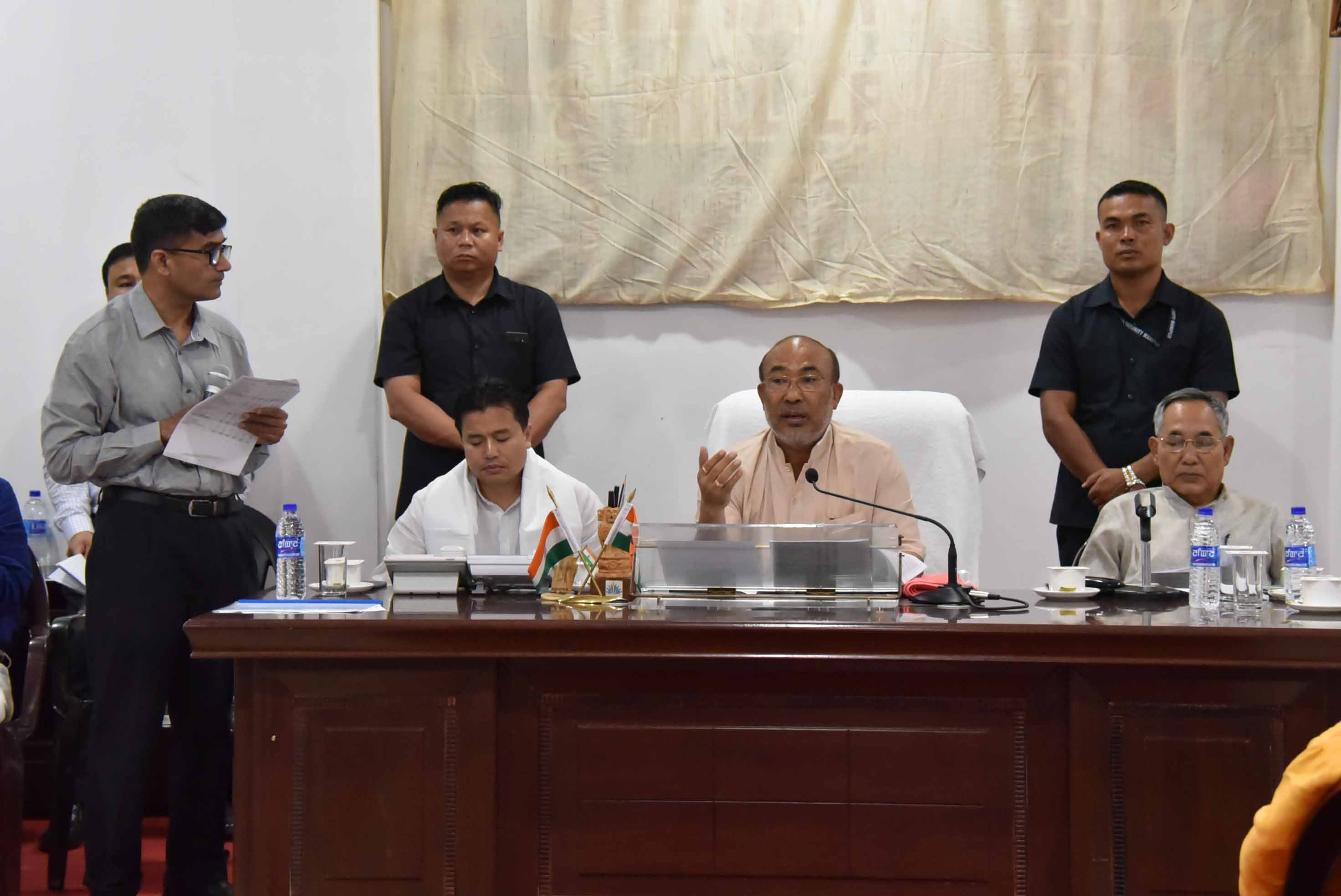 Manipur chief minister N Biren singh addressing at a review meeting of his government s Go to Village mission in Imphal on Saturday