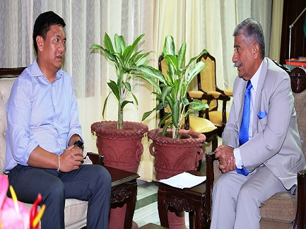 Arunachal Pradesh CM Pema Khandu during a meeting with Governor B D Mishra at Raj Bhavan in Itanagar on June 11, 2018. File Photo: Damien Lepcha